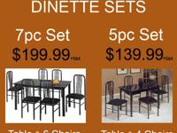 MARBLE FINISH DINETTE SET 5PC OR 7PC IN STOCK