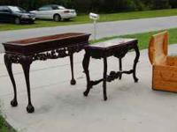 Two solid wood tables, one marble inlaid top, other