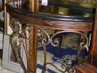 Beautiful black marble topped console table with metal