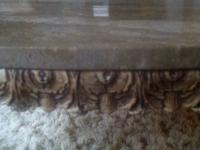 Beautiful, unusual, antique coffee table. Marble top is