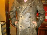 Distressed leather men's peacoat from German design