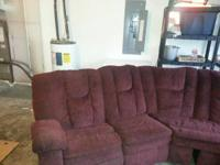 Used Maroon Sectional seats 7 . This sectional is used