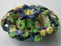 Porcelain floral bowl with frog. Majolica style glaze.