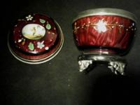 1 hand painted Cranberry glass dish by Mary Gregory