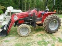 massey ferguson tractor loader, bush hog,plow,grader