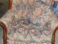 MATCHING ARMCHAIR AND 3-CUSHION COUCH. DARK BLUE/GREEN