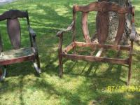 Up for sale is an older antique rocking chair and love
