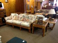 Matching bamboo couch and end table established $175.