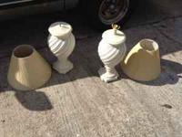 Set of two beautiful off white lamps with shades. If