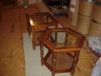 Matching End Tables Very Good Condition Glass Tops