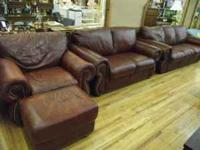 Wonderful matching brown leather couch and love seat