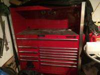 Matco tool box with side shelf and cover. In excellent