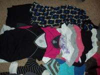 5 shorts, 2 jeans, 1 black skirt, 1 full length dress,