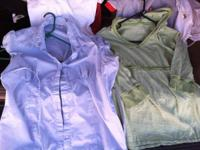 Pair of maternity shirts for $5.  Green and white