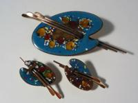 Vintage Matisse copper and enamel pin and earrings.