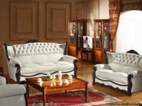 Max West 162 Beige R-Leather Living Room Sofa Set with