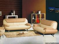Max West 208 Beige Camel MM Leather 3 Pcs. Sofa Living