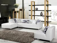 Max West 715 3 Pcs. Snow White R Leather Sectional Sofa