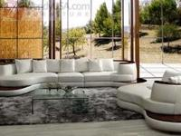 4 Pieces Modern Snow White Geniune Leather Sectional