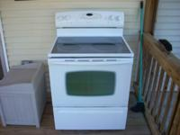 "White 30"" Maytag Electric Stove, smooth cook-top,"