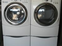 MAYTAG FRONT LOAD WASHER AND ELECTRIC DRYER.  WASHER: