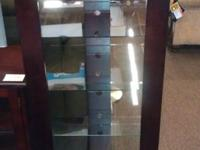CHERRY MEDIA TOWER WITH GLASS SHELVES ONLY $119.99 +