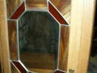Oak bathroom medicine cabinet with leaded and stained