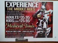 'MEDIEVAL TIMES DINNER & TOURNAMENT'  Coupon good for