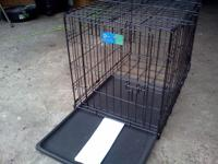 Medium folding double door pet crate - $20 OBO - front