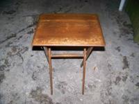 A medium oak folding tray table. Contact me @