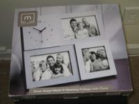 Brand name New picture frame with clock, Silver Ridge