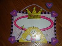 This adorable wooden princess hanging wall/door plaque