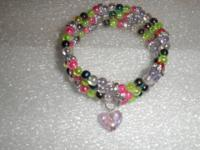 This is a memory wire bracelet made with multi-colored