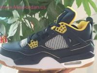Men air jordan 4 navy blue yellow leather sneaker