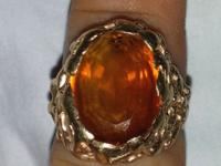 Men's 14k Nugget Ring. Stone in the middle, as told by