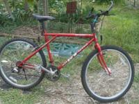 "Mountain bike, great for riding 26"" Aluminum wheels,"