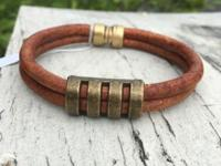 Handmade double authentic leather bracelet with quality