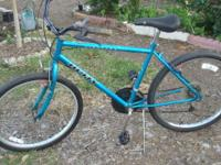 "18 speed, with easy to use thumb shifters 26"" wheels,"