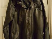 Buffalo David Bitton hooded black leather jacket, with