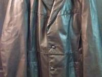Very nice black men's leather coat. Size Medium. Has 2
