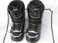 Men's black, Thirty-Two quick-lacing snowboard boots.