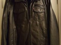 Men or Teen Levi's hooded black leather jacket, with