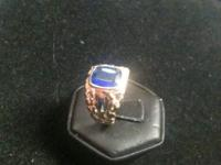 Beautiful, custom, heavy 10k ring. With REAL sapphire