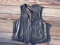 Guy's leather vest with heavy polyester liner and heavy