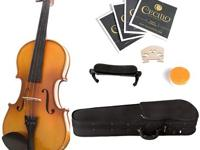 Mendini 1/4 MV400 Ebony Fitted Solid Wood Violin with