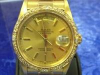 MENS 1991 PRESIDENT ROLEX DAY-DATE SOLID 18K GOLD WITH