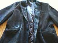 Sharp chocolate brown leather jacket/blazer. In good