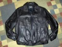 """DOCKERS"" Black leather jacket size XL. Very good"