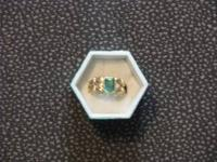MANS 14K gold EMERALD and Diamond Ring Weight 9.2
