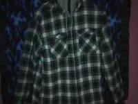 GREAT GREEN/WHITE/BLUE FLANNEL COAT WITH GREY HOOD VERY